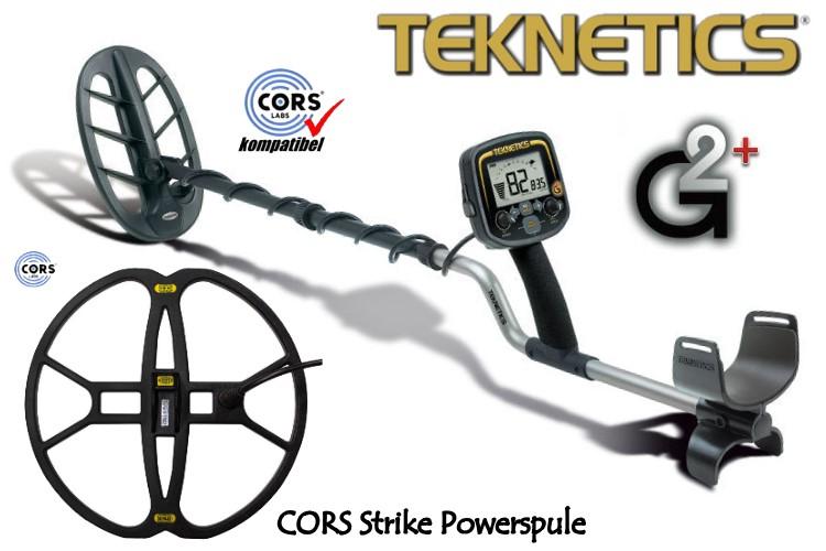 Metalldetektor Teknetics G2 plus & CORS Strike Hochleistungsspule (Tiefenortungspaket)